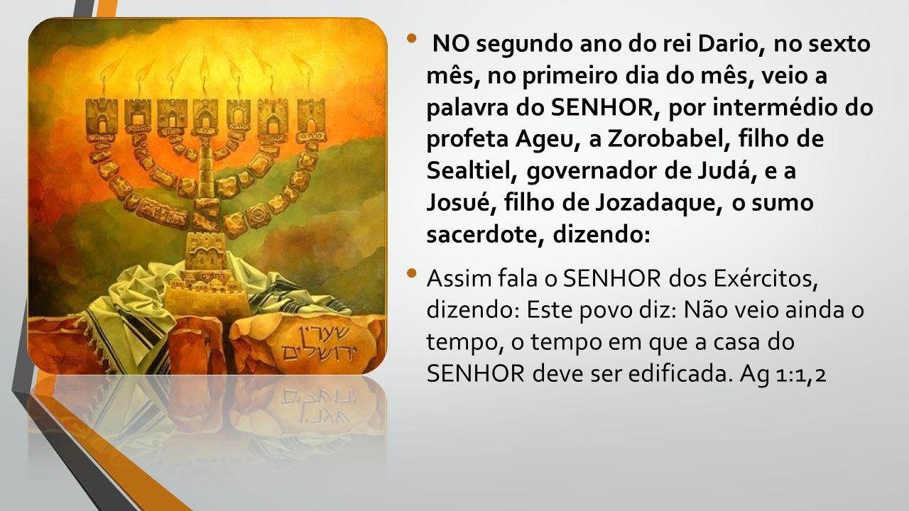 NO segundo ano do rei Dario, no sexto mês, no primeiro dia do mês, veio a palavra do SENHOR, por intermédio do profeta Ageu, a Zorobabel, filho de Sealtiel, governador de Judá, e a Josué, filho de Jozadaque, o sumo sacerdote, dizendo: