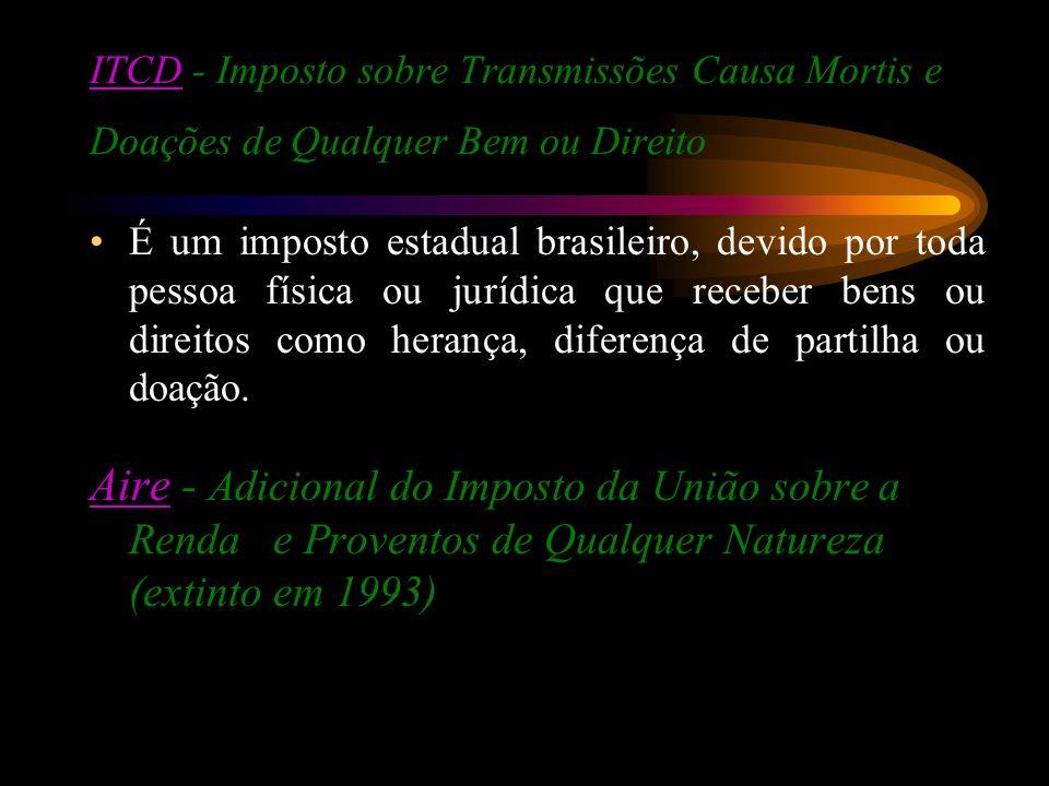 ITCD - Imposto sobre Transmissões Causa Mortis e Doações de Qualquer Bem ou Direito