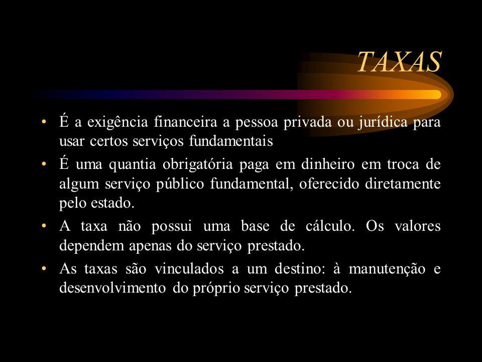 TAXAS É a exigência financeira a pessoa privada ou jurídica para usar certos serviços fundamentais.
