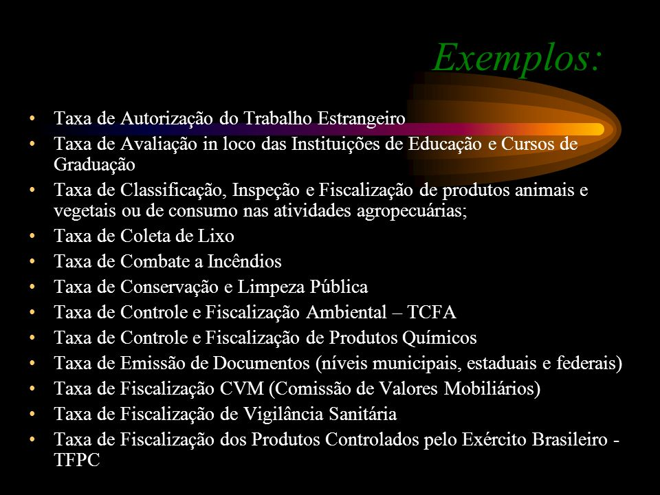 Exemplos: Taxa de Autorização do Trabalho Estrangeiro