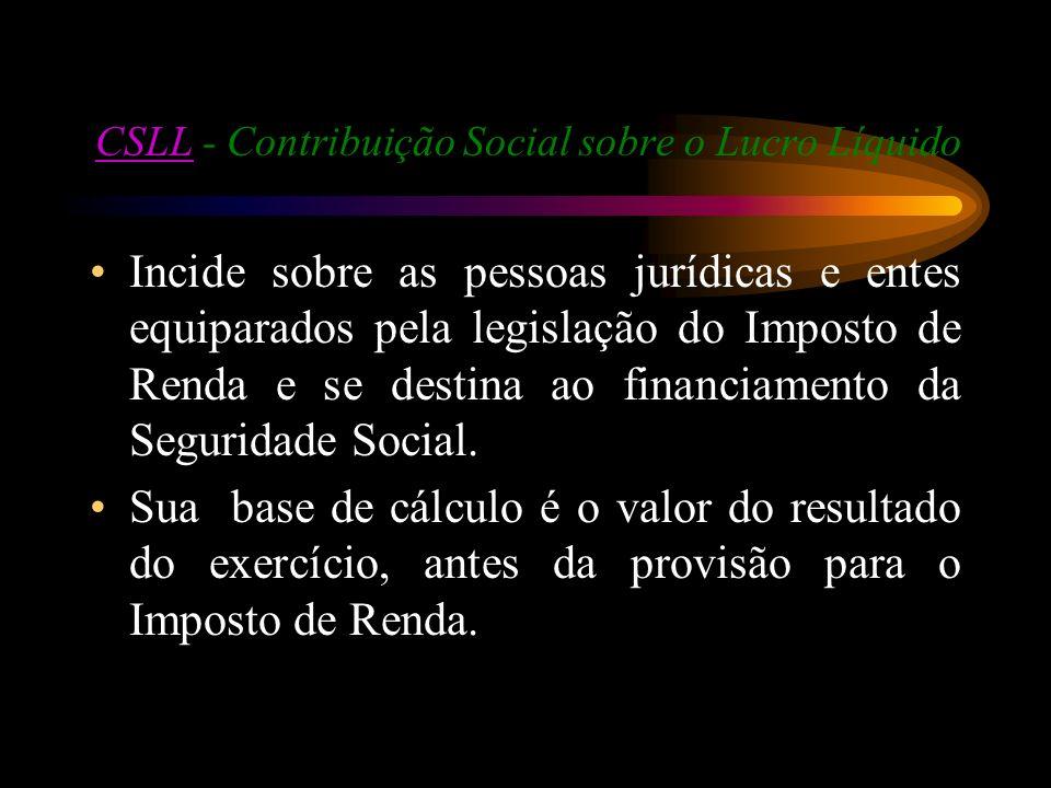 CSLL - Contribuição Social sobre o Lucro Líquido