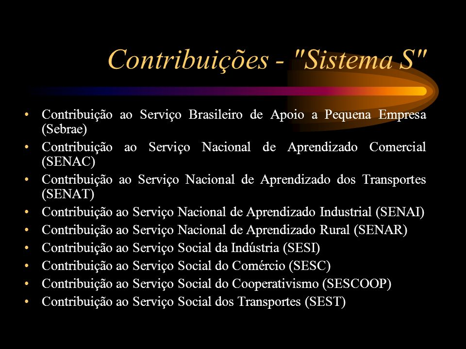 Contribuições - Sistema S