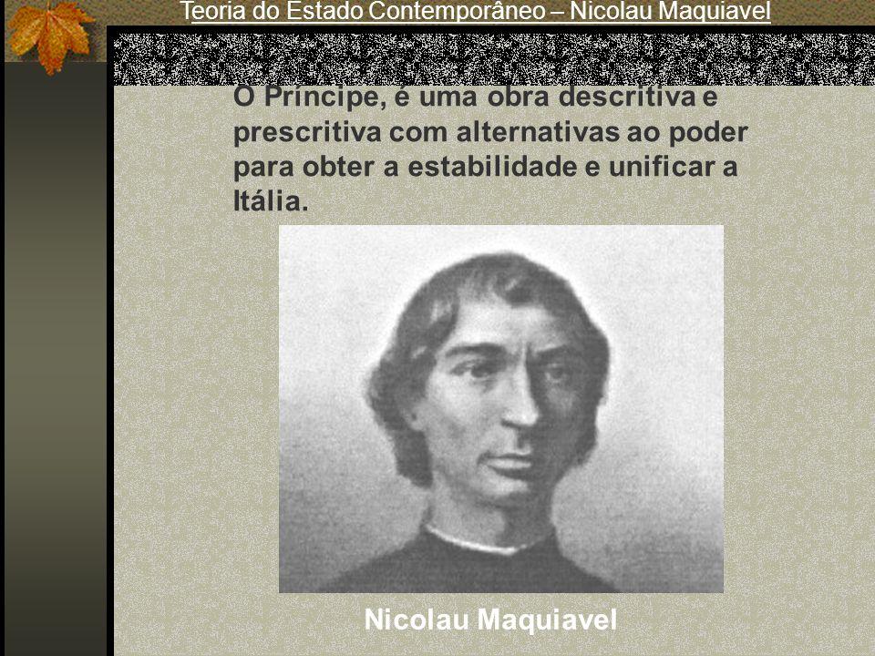 Teoria do Estado Contemporâneo – Nicolau Maquiavel