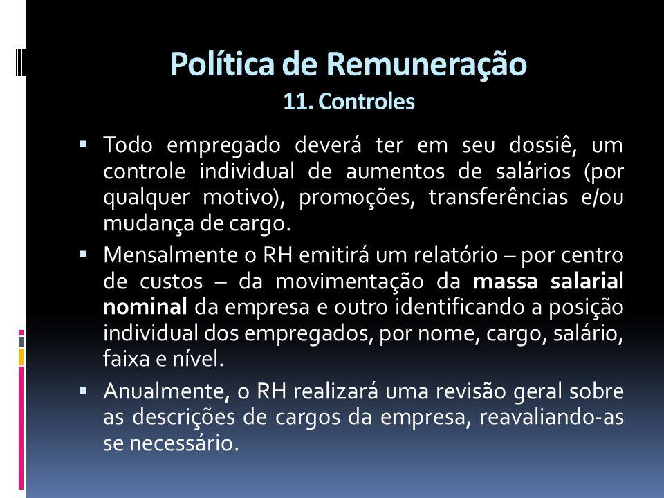 Política de Remuneração 11. Controles