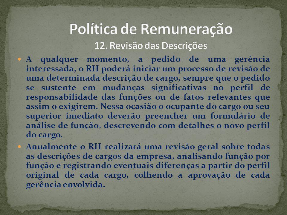 Política de Remuneração 12. Revisão das Descrições