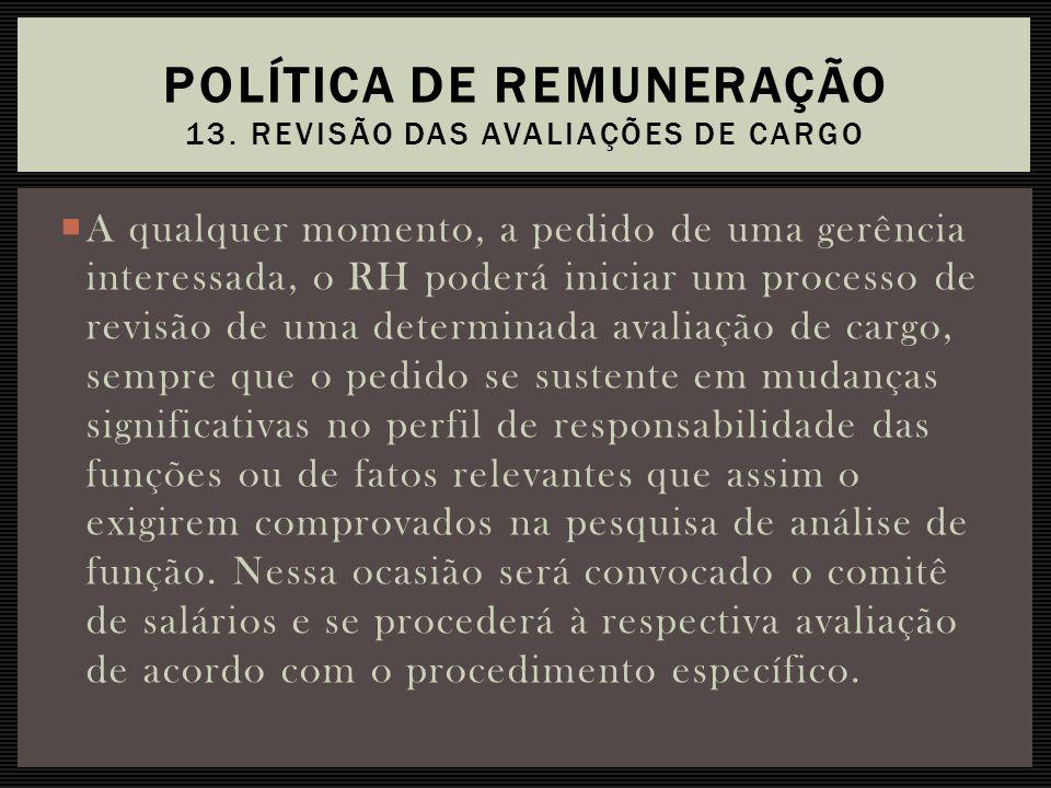 Política de Remuneração 13. Revisão das avaliações de cargo