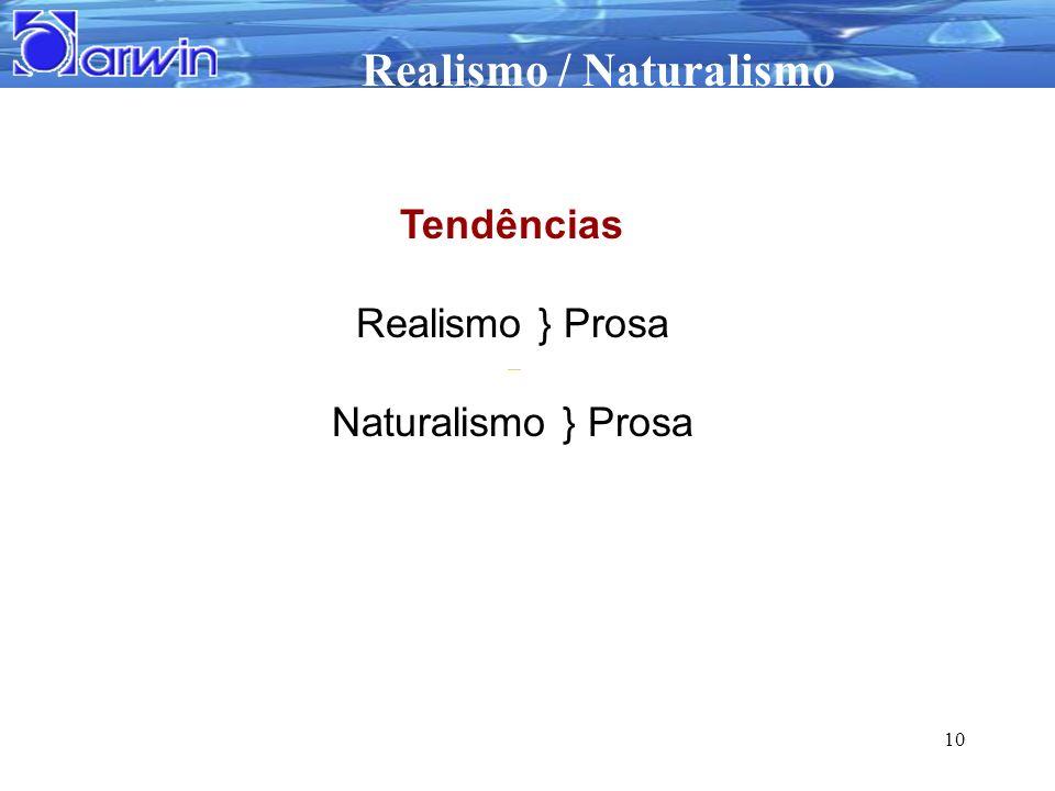 Tendências Realismo } Prosa Naturalismo } Prosa