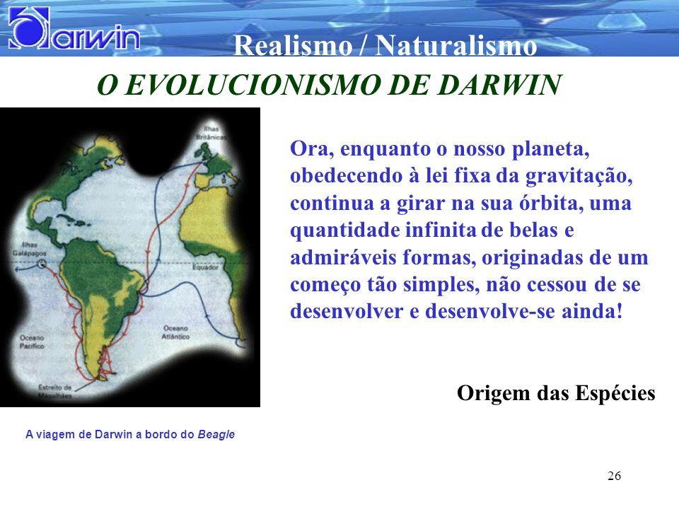 O EVOLUCIONISMO DE DARWIN A viagem de Darwin a bordo do Beagle
