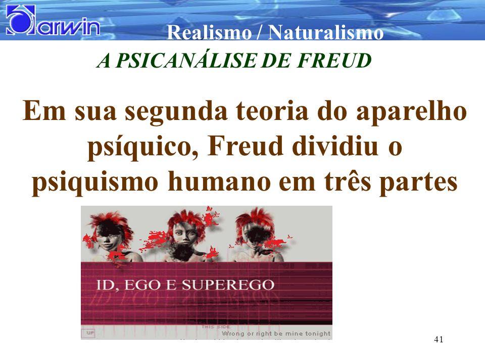 A PSICANÁLISE DE FREUD Em sua segunda teoria do aparelho psíquico, Freud dividiu o psiquismo humano em três partes.