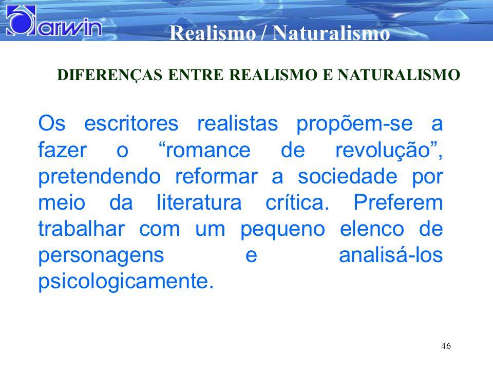 DIFERENÇAS ENTRE REALISMO E NATURALISMO