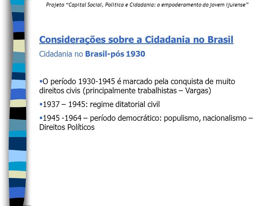 Considerações sobre a Cidadania no Brasil
