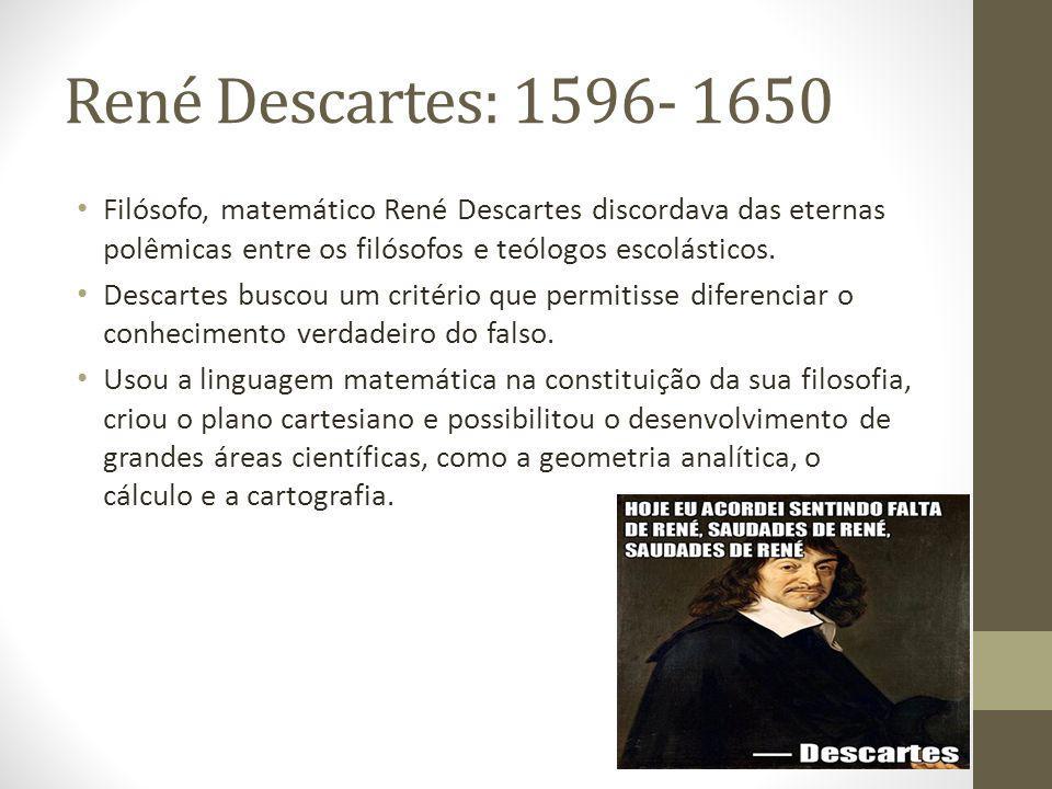 René Descartes: 1596- 1650 Filósofo, matemático René Descartes discordava das eternas polêmicas entre os filósofos e teólogos escolásticos.