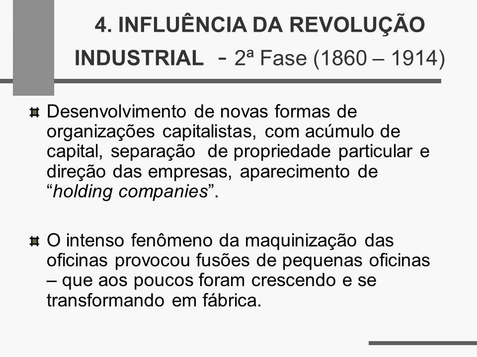 4. INFLUÊNCIA DA REVOLUÇÃO INDUSTRIAL - 2ª Fase (1860 – 1914)