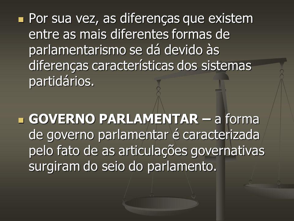Por sua vez, as diferenças que existem entre as mais diferentes formas de parlamentarismo se dá devido às diferenças características dos sistemas partidários.