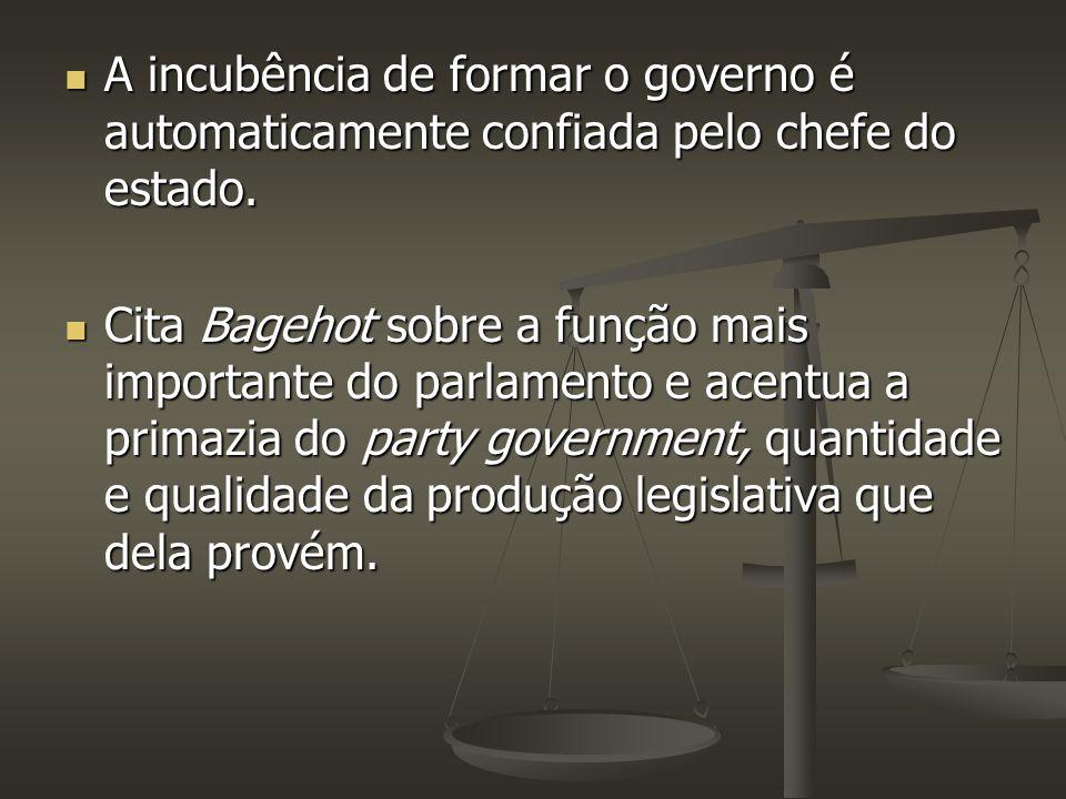 A incubência de formar o governo é automaticamente confiada pelo chefe do estado.