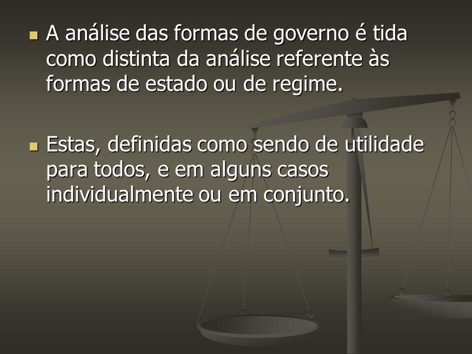 A análise das formas de governo é tida como distinta da análise referente às formas de estado ou de regime.