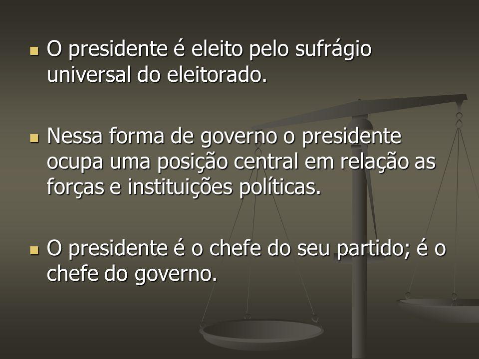 O presidente é eleito pelo sufrágio universal do eleitorado.