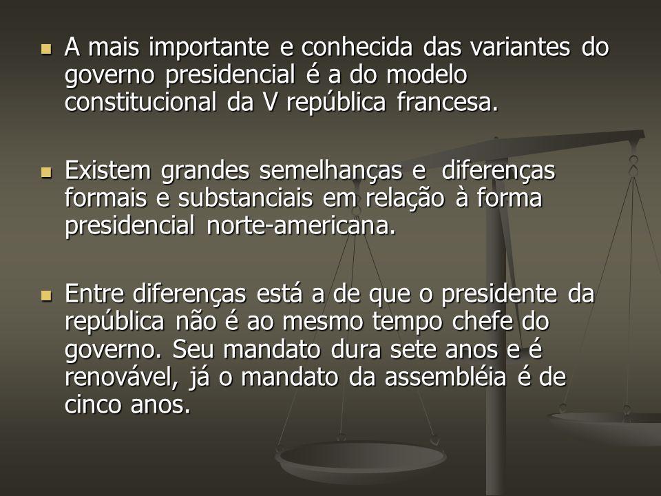 A mais importante e conhecida das variantes do governo presidencial é a do modelo constitucional da V república francesa.