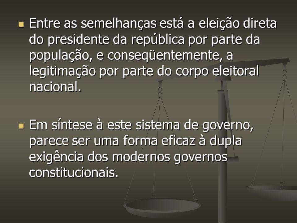 Entre as semelhanças está a eleição direta do presidente da república por parte da população, e conseqüentemente, a legitimação por parte do corpo eleitoral nacional.