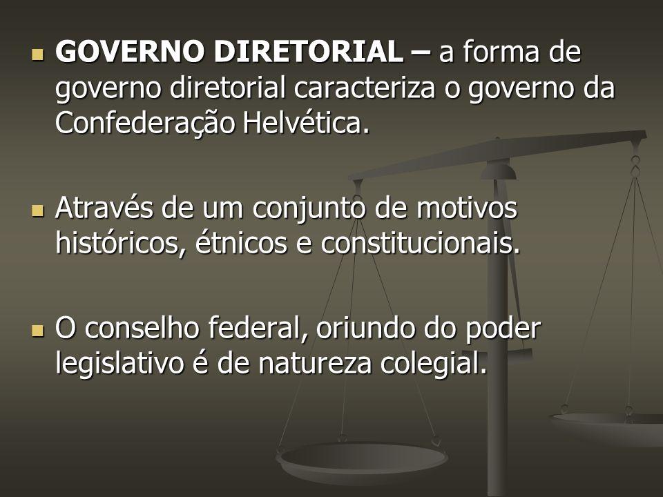 GOVERNO DIRETORIAL – a forma de governo diretorial caracteriza o governo da Confederação Helvética.