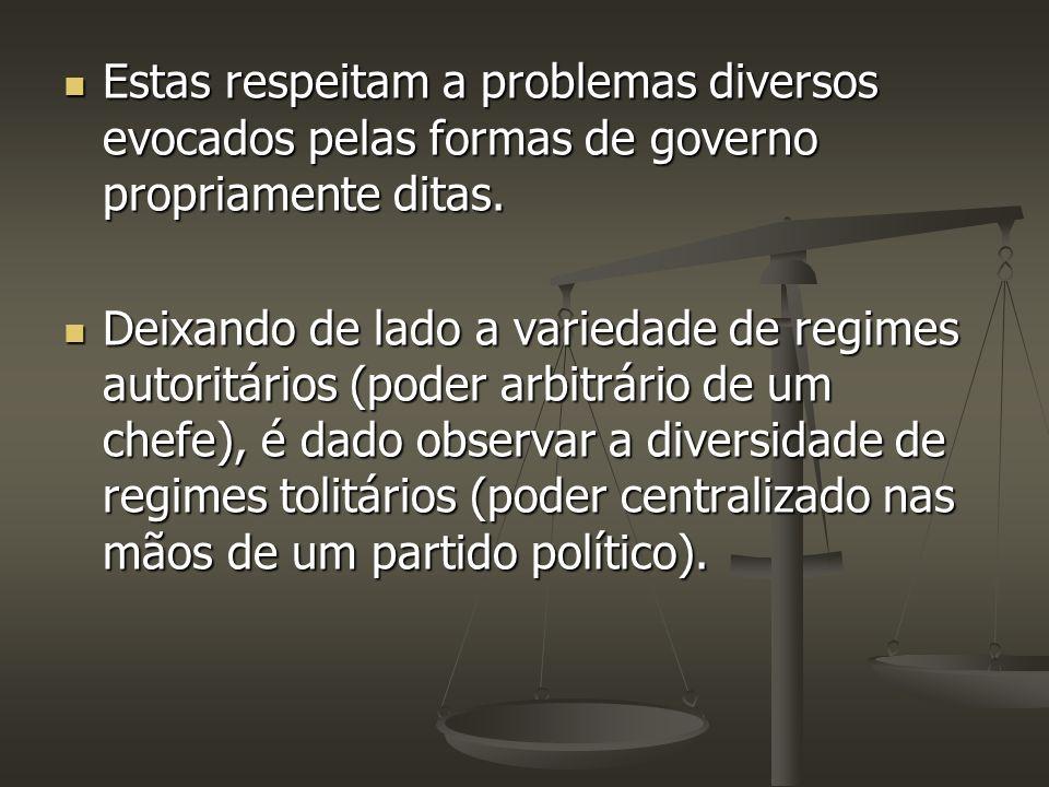 Estas respeitam a problemas diversos evocados pelas formas de governo propriamente ditas.