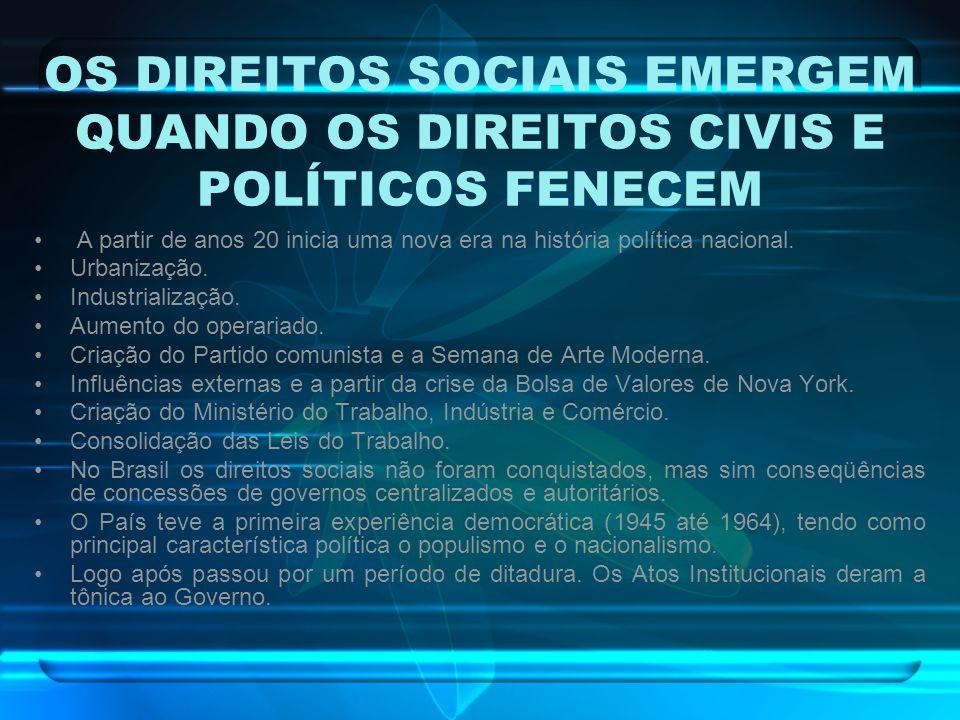 OS DIREITOS SOCIAIS EMERGEM QUANDO OS DIREITOS CIVIS E POLÍTICOS FENECEM