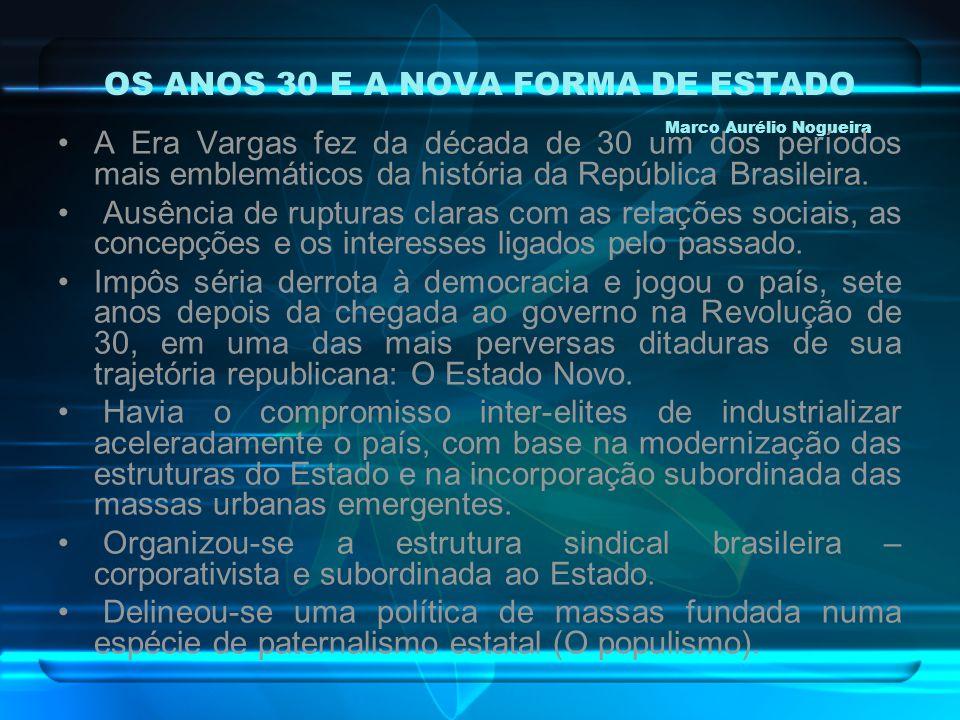 OS ANOS 30 E A NOVA FORMA DE ESTADO Marco Aurélio Nogueira