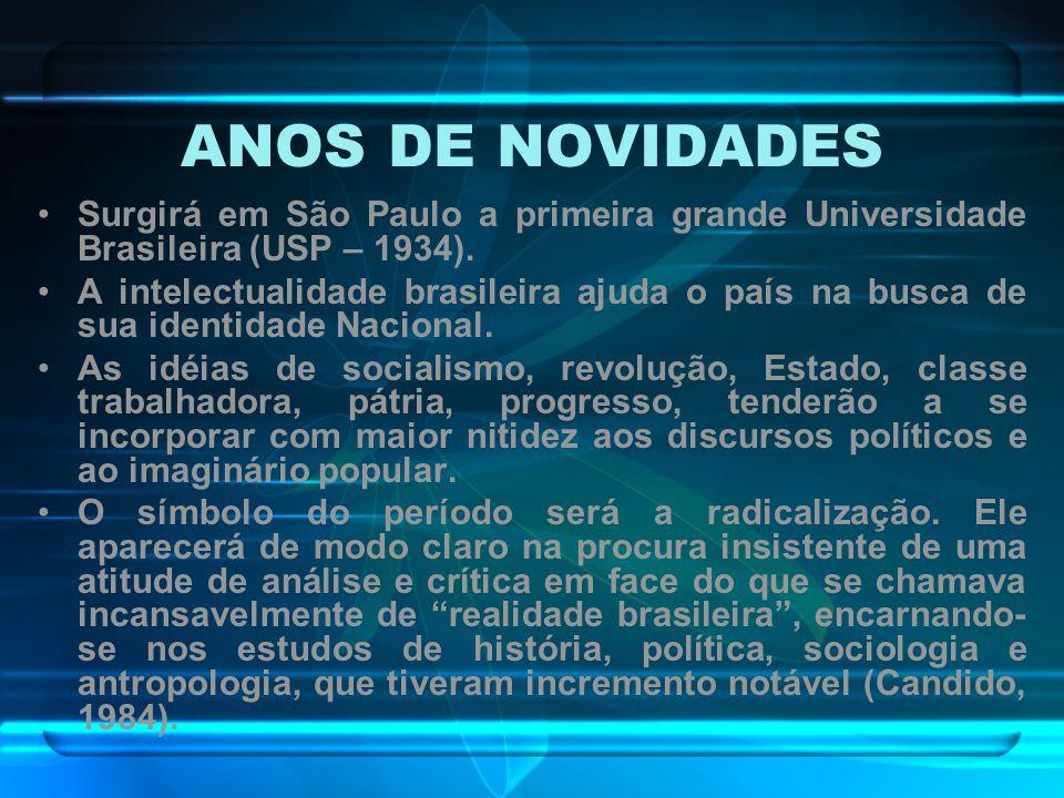 ANOS DE NOVIDADES Surgirá em São Paulo a primeira grande Universidade Brasileira (USP – 1934).