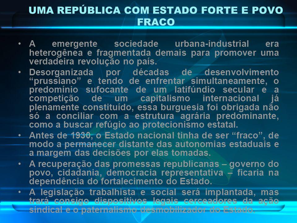 UMA REPÚBLICA COM ESTADO FORTE E POVO FRACO