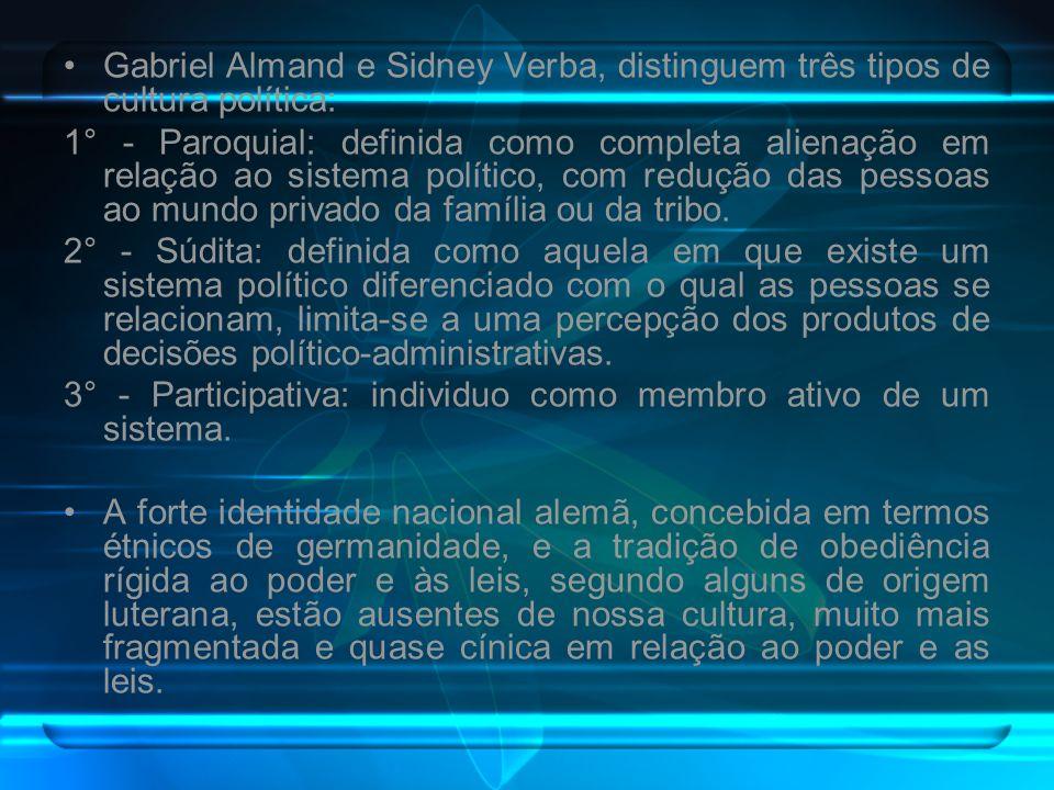 Gabriel Almand e Sidney Verba, distinguem três tipos de cultura política: