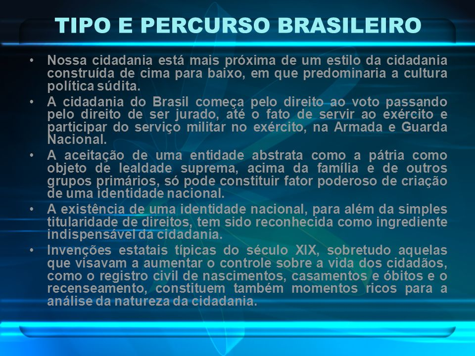 TIPO E PERCURSO BRASILEIRO