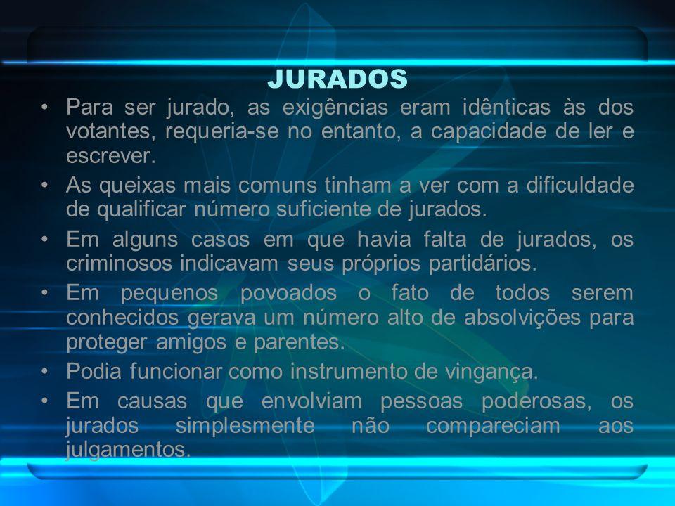 JURADOSPara ser jurado, as exigências eram idênticas às dos votantes, requeria-se no entanto, a capacidade de ler e escrever.
