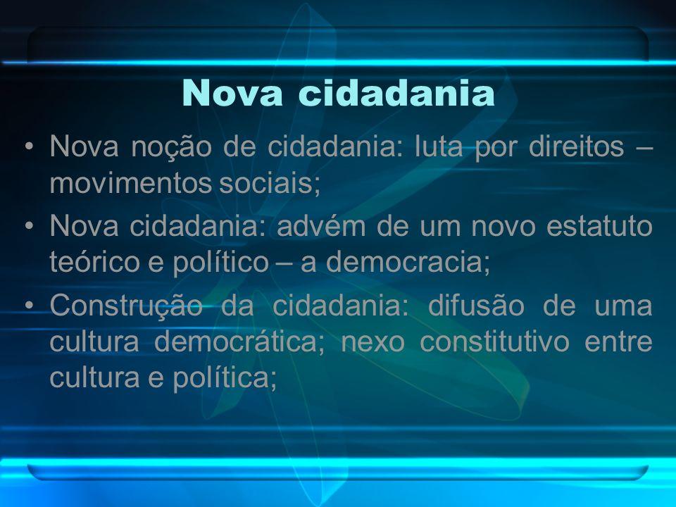 Nova cidadania Nova noção de cidadania: luta por direitos – movimentos sociais;