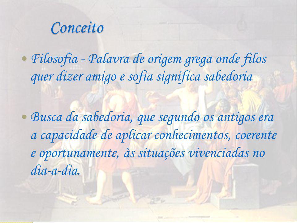Conceito Filosofia - Palavra de origem grega onde filos quer dizer amigo e sofia significa sabedoria.