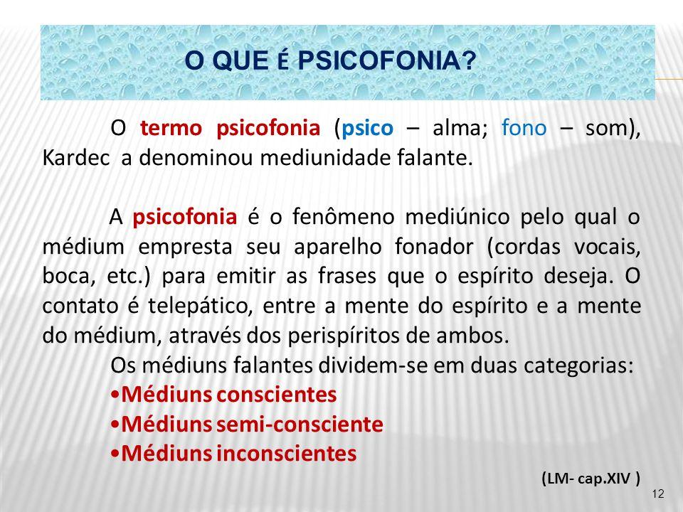 O QUE É PSICOFONIA O termo psicofonia (psico – alma; fono – som), Kardec a denominou mediunidade falante.