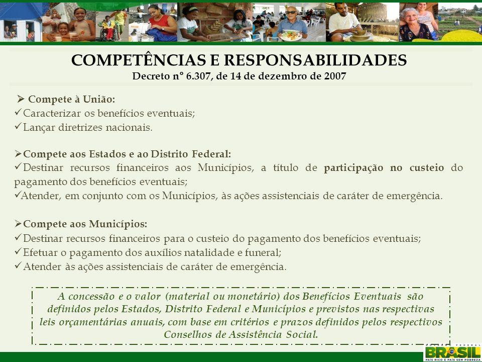 COMPETÊNCIAS E RESPONSABILIDADES