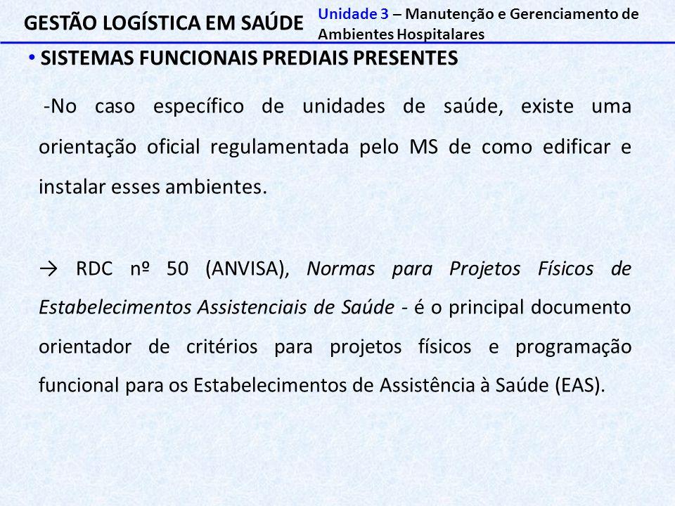 GESTÃO LOGÍSTICA EM SAÚDE SISTEMAS FUNCIONAIS PREDIAIS PRESENTES