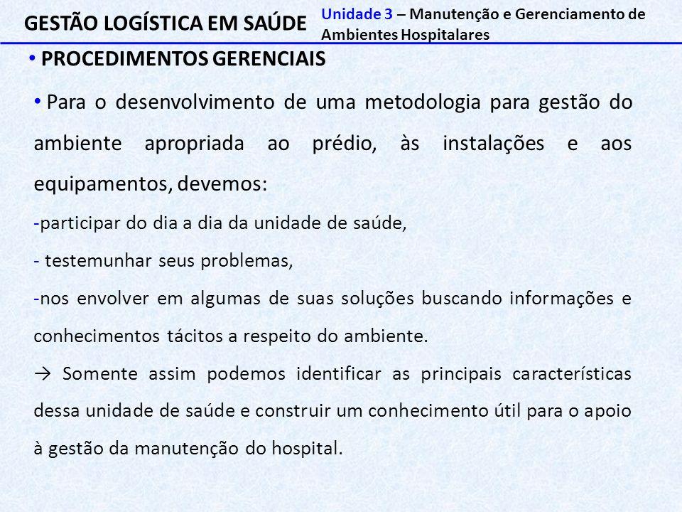 GESTÃO LOGÍSTICA EM SAÚDE PROCEDIMENTOS GERENCIAIS