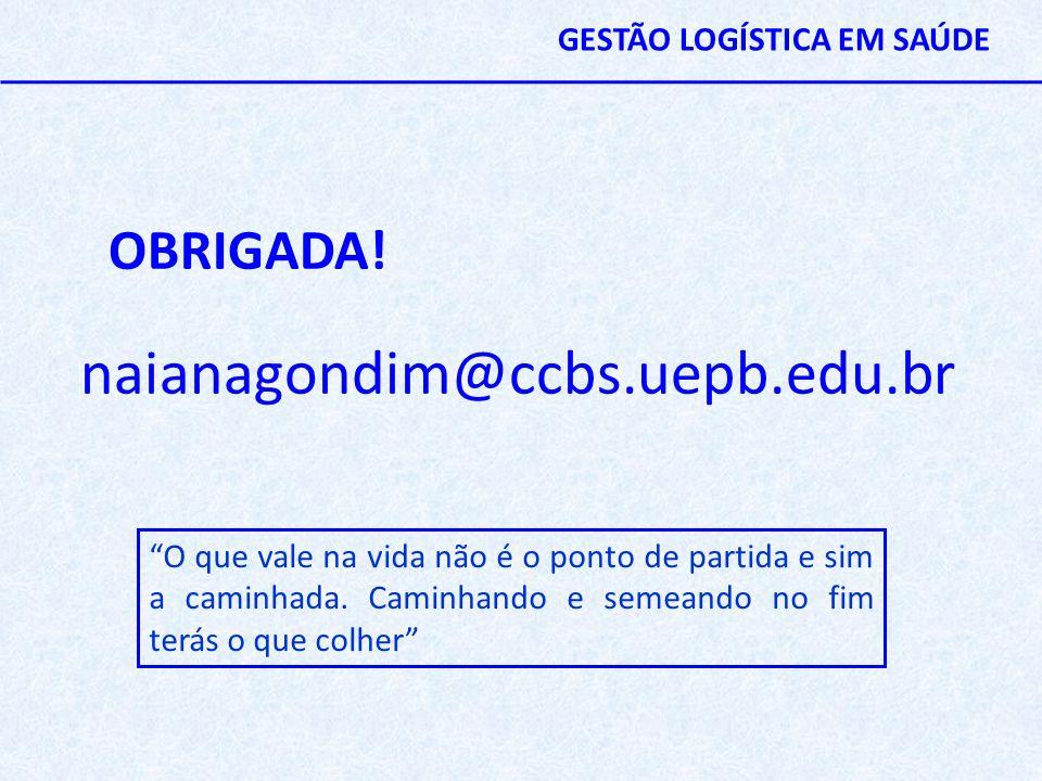 naianagondim@ccbs.uepb.edu.br OBRIGADA! GESTÃO LOGÍSTICA EM SAÚDE