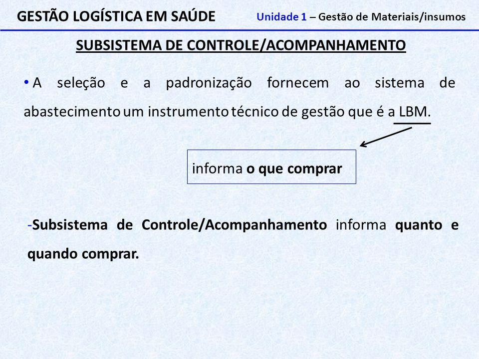 SUBSISTEMA DE CONTROLE/ACOMPANHAMENTO
