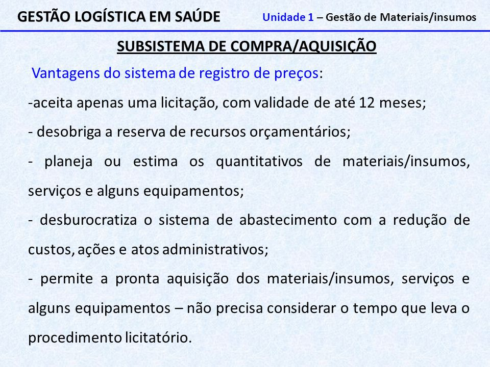 SUBSISTEMA DE COMPRA/AQUISIÇÃO