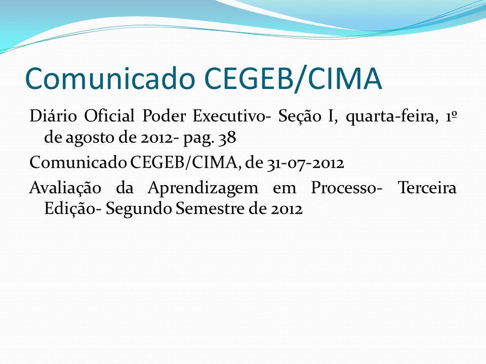 Comunicado CEGEB/CIMA