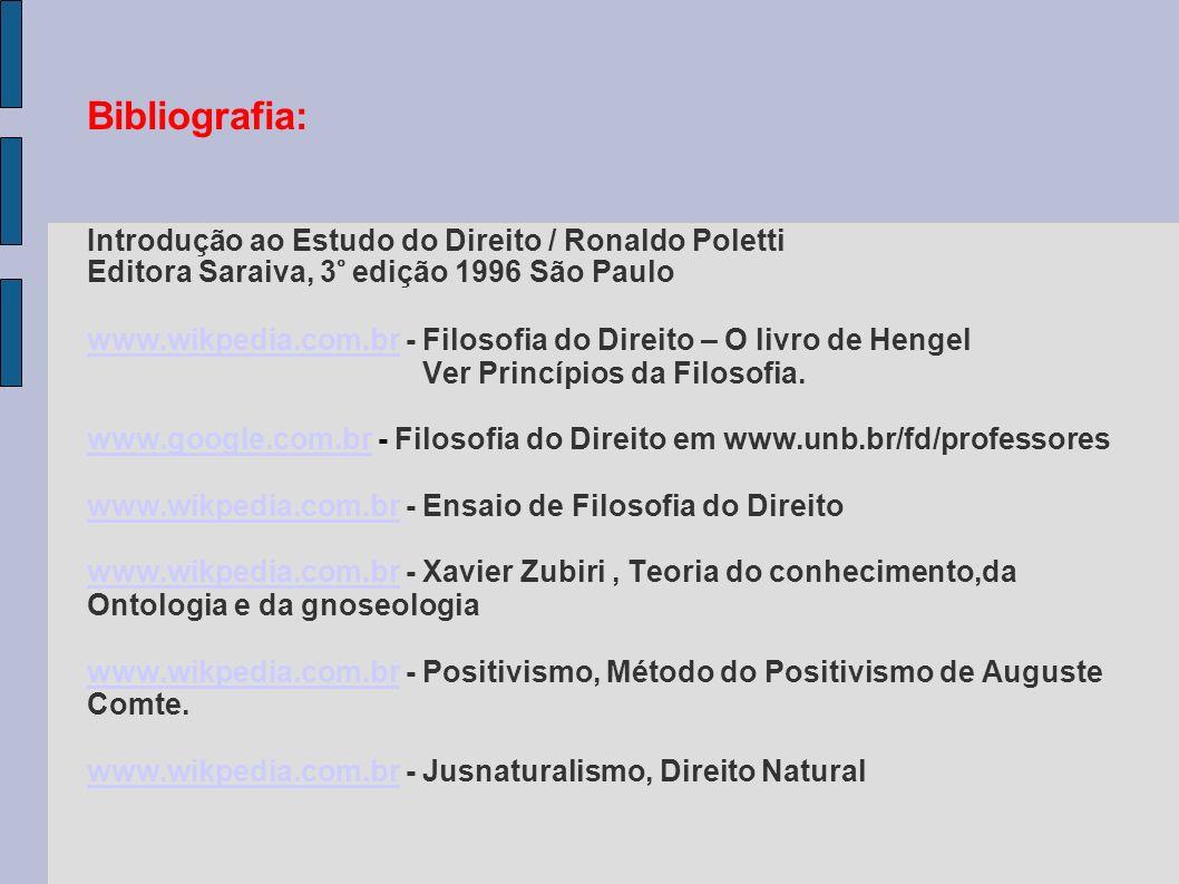 Bibliografia: Introdução ao Estudo do Direito / Ronaldo Poletti Editora Saraiva, 3° edição 1996 São Paulo www.wikpedia.com.br - Filosofia do Direito – O livro de Hengel Ver Princípios da Filosofia.
