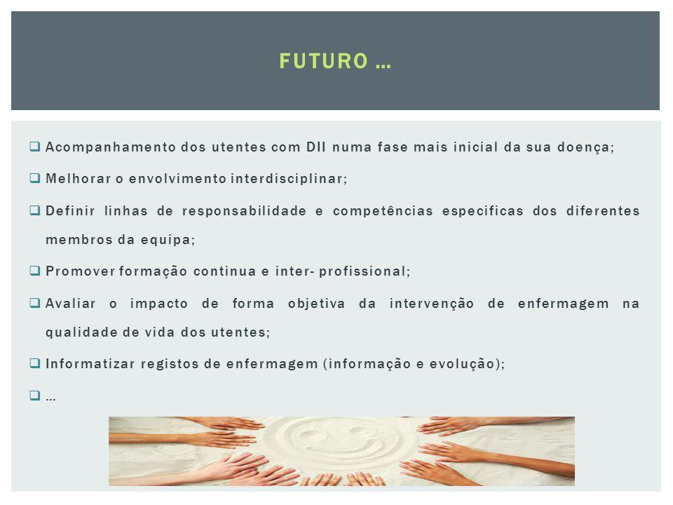 FUTURO … Acompanhamento dos utentes com DII numa fase mais inicial da sua doença; Melhorar o envolvimento interdisciplinar;