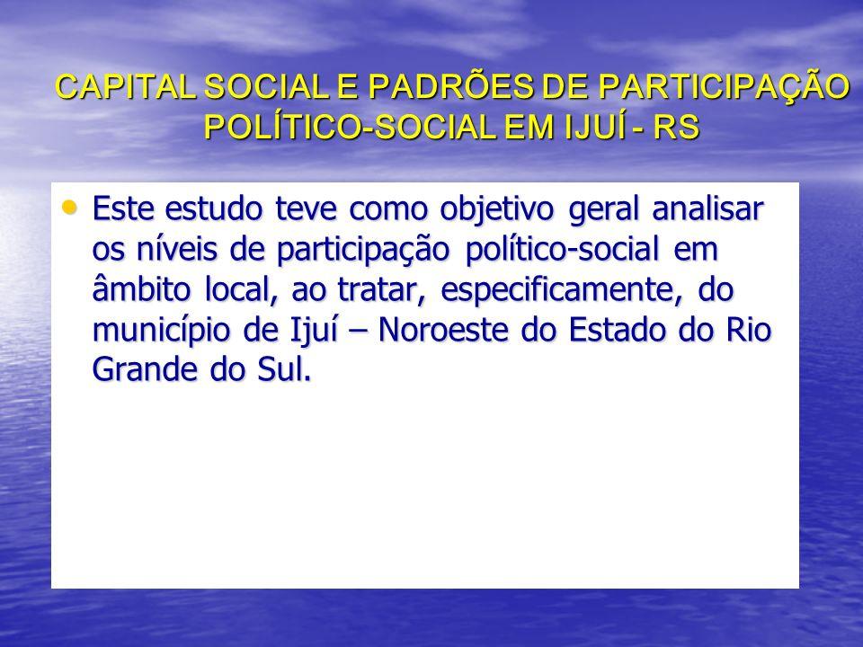 CAPITAL SOCIAL E PADRÕES DE PARTICIPAÇÃO POLÍTICO-SOCIAL EM IJUÍ - RS