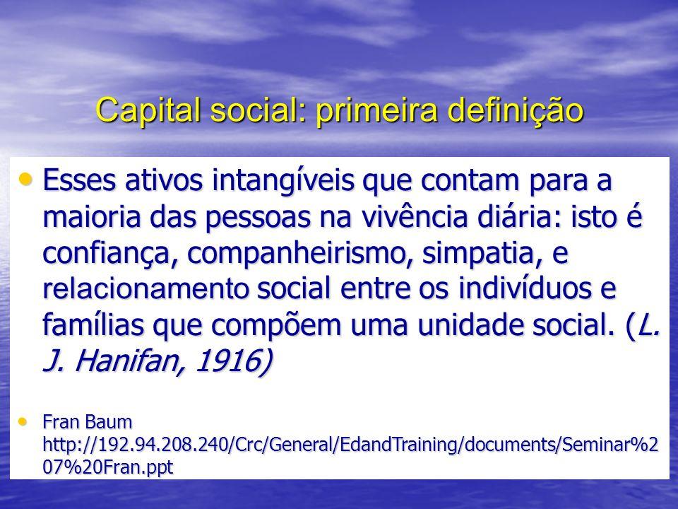 Capital social: primeira definição