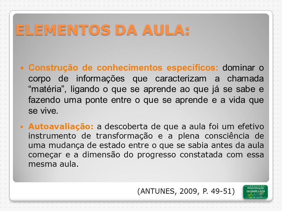 ELEMENTOS DA AULA: