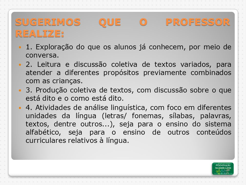SUGERIMOS QUE O PROFESSOR REALIZE: