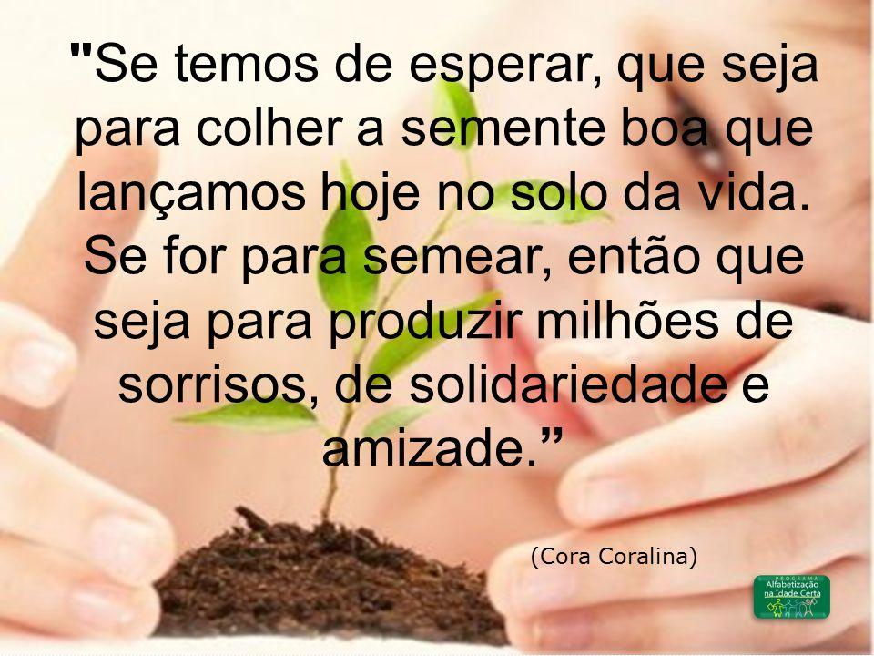 Se temos de esperar, que seja para colher a semente boa que lançamos hoje no solo da vida. Se for para semear, então que seja para produzir milhões de sorrisos, de solidariedade e amizade.