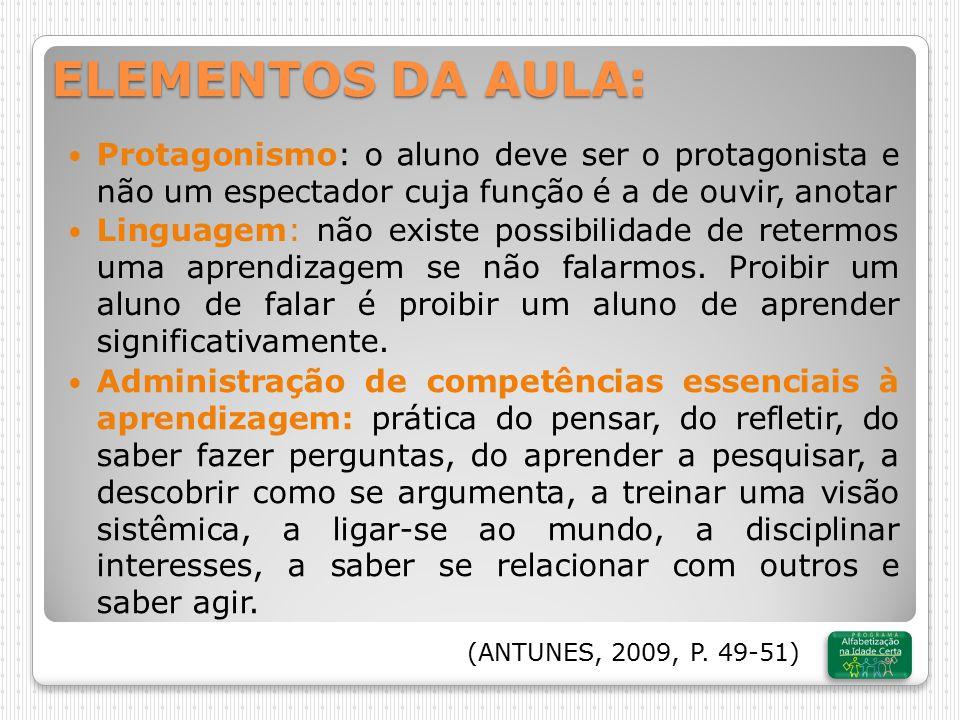 ELEMENTOS DA AULA: Protagonismo: o aluno deve ser o protagonista e não um espectador cuja função é a de ouvir, anotar.